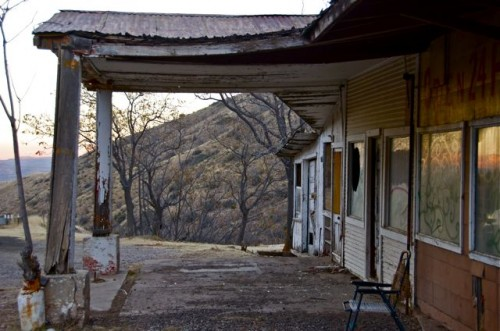 Abandoned gas station on the mountainside